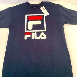 FILA Men's T-Shirt Stacked Logo Retro Cotton L